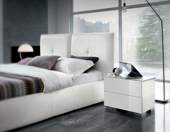 White Italian Leather Bed