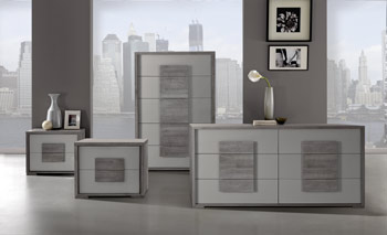 Grey bedroom case goods