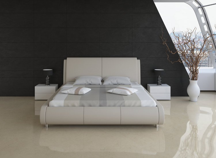 Taupe Contemporary Bed