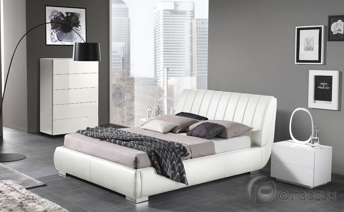 Alba leather bed white