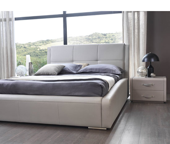 Taupe Leather Bed