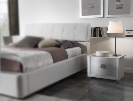 White Night Stand and Bed