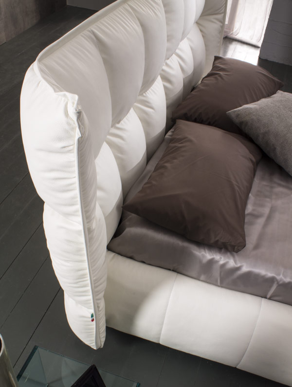 side view white bed