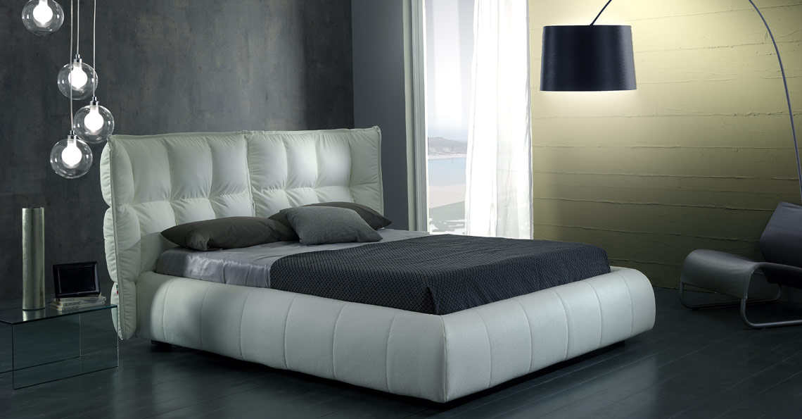 White eco leather bed