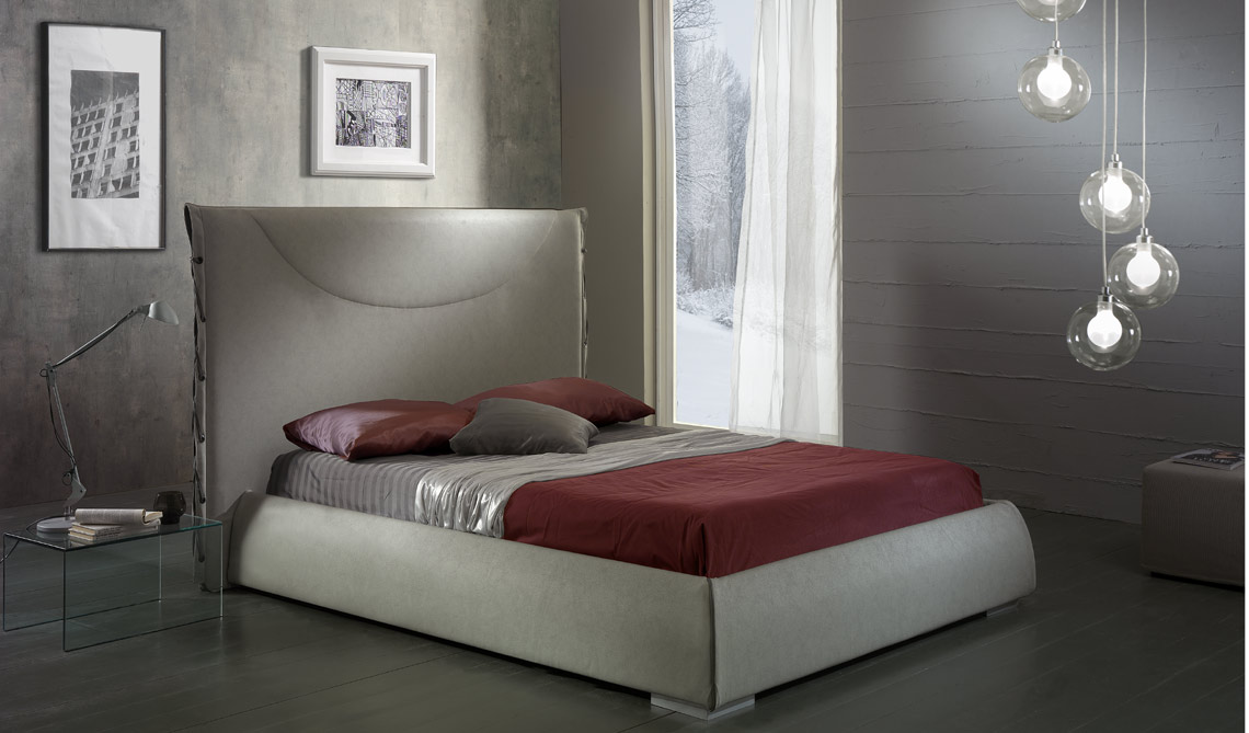 Grey eco leather bed